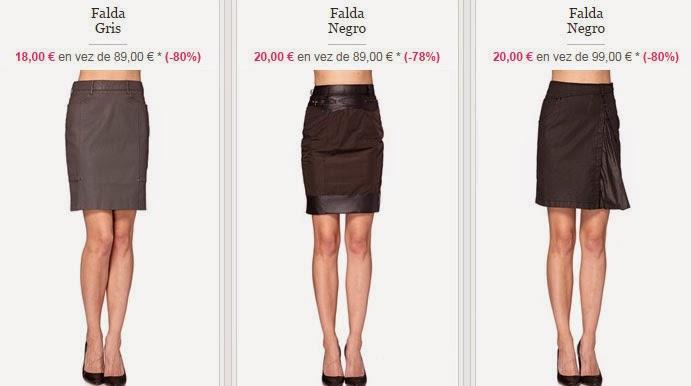 Detalle de tres faldas, en gris o negro que puedes comprar