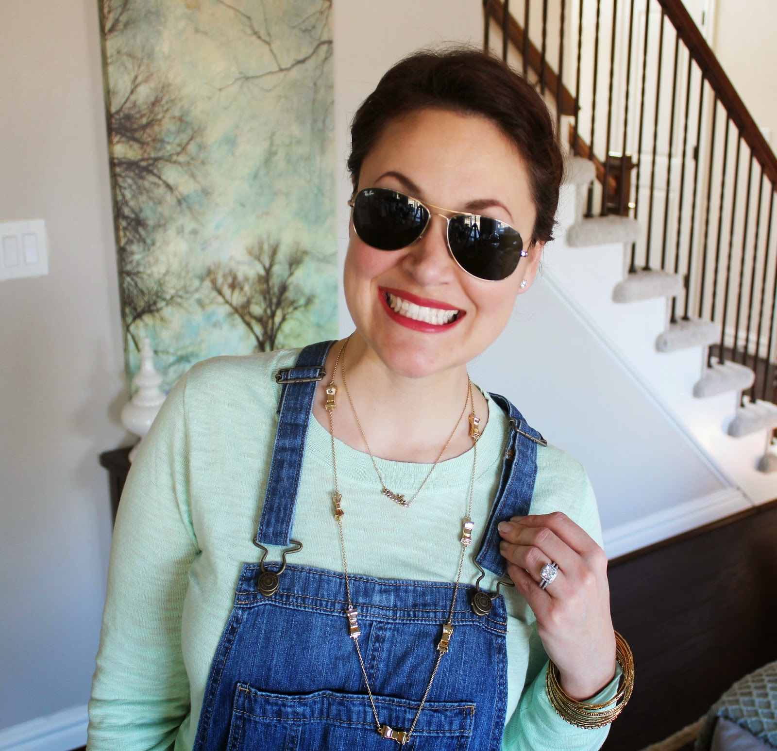 Ray-Ban Aviators, Old Navy Overalls, Kate Spade Bow Necklace, Smile Necklace, Jcrew Sweater, Mint