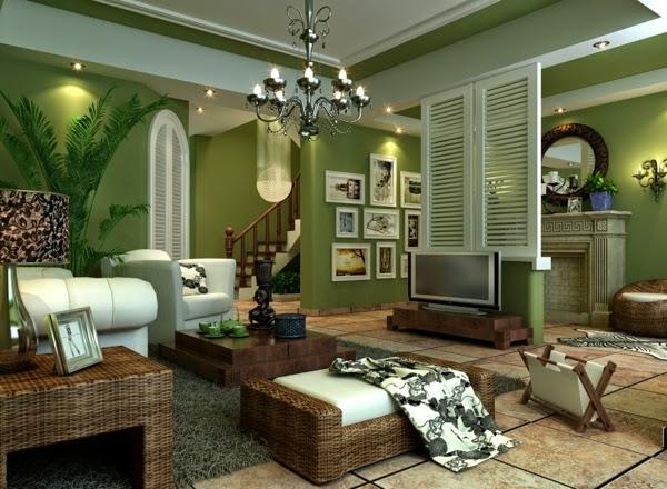 Salas en color verde y marr n salas con estilo for Sala de estar marron