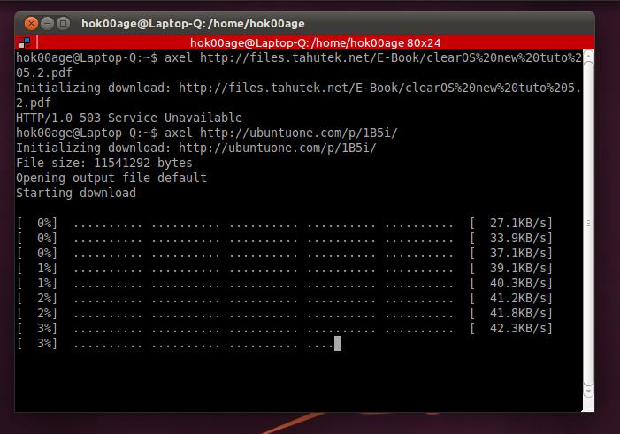 Download accelerator 'Axel' di Ubuntu