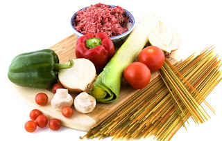 ingredients for fresh, healthy spaghetti dish