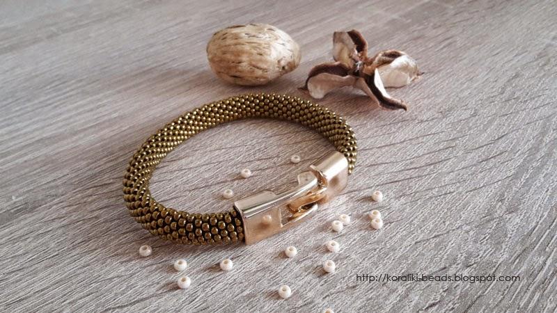 Bransoletka sznur szydełkowo - koralikowy toho koraliki 2 mm złote