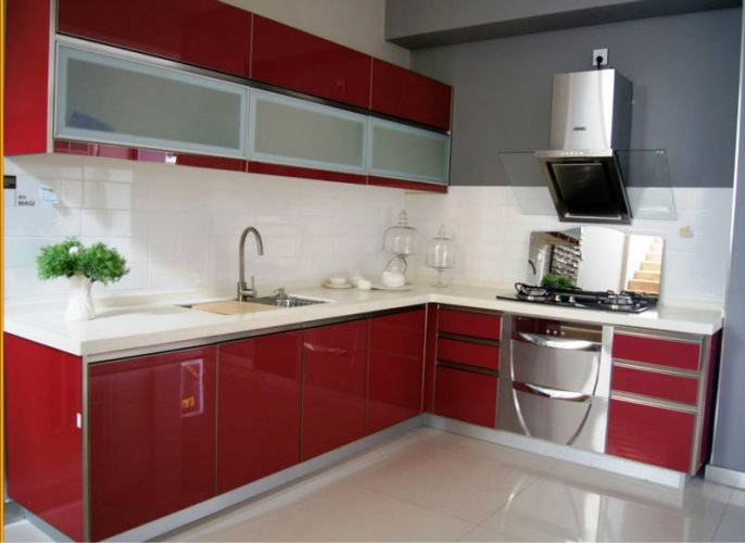 White and red kitchen cabinets modern design ideas with for Kitchen colors with white cabinets with sets of wall art