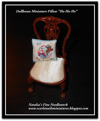 CDHM Gallery of Natalia Frank of Scarlet Sails creating dollhouse miniatures fine hand stitched linens, including pillows, shoes, tapestries, and commissions