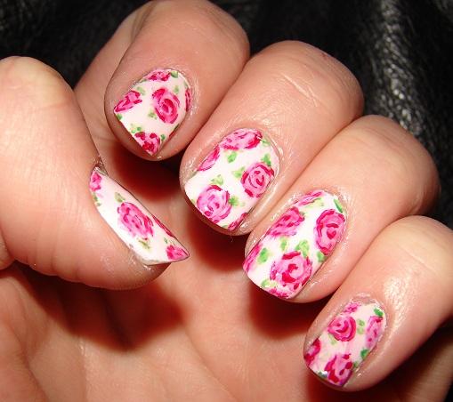 Vintage Nails: Kawaii Nail Art: Vintage Pink Roses