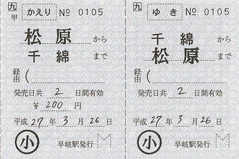 JR九州 千綿駅 発駅常備補充往復乗車券
