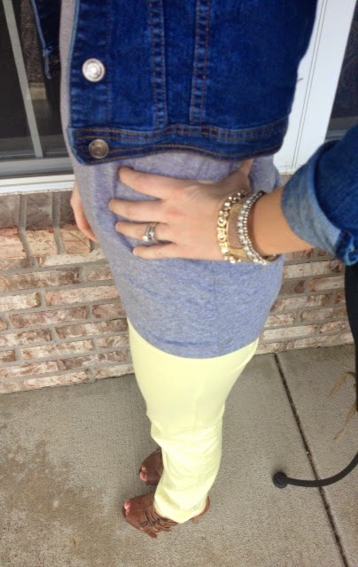yellow skinny jeans, denim jacket