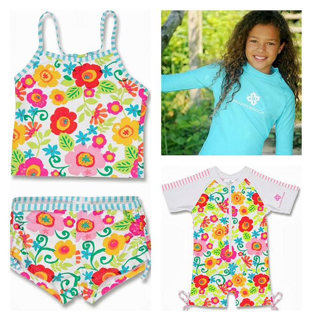 Snapper Rock Garden Flower Girls Swimwear Collection