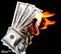 burning hundred dollar bills