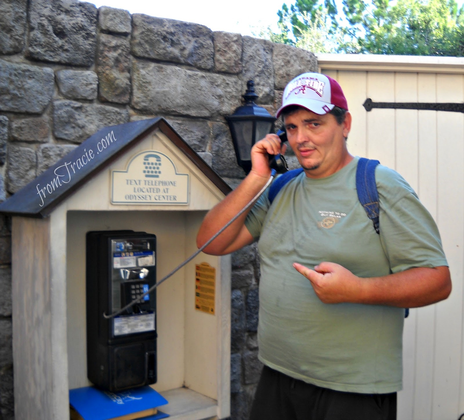Thomas is suspicious of the pay phone at Disney World