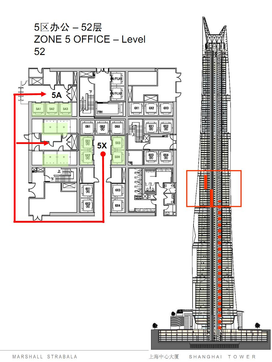 World of architecture shanghai tower elevator system for Elevator floor plan