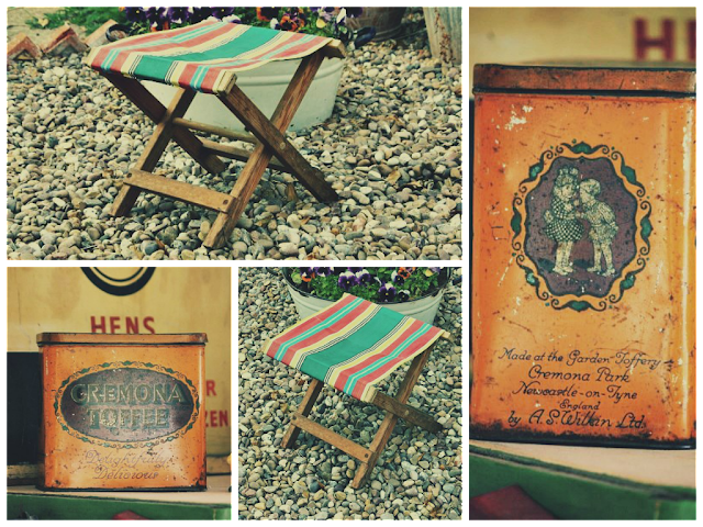 vintage toffee tin and vintage camping stool