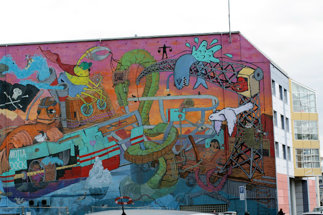 There are so many buildings in Reykjavik that have murals painted on the side - this is just by the harbour