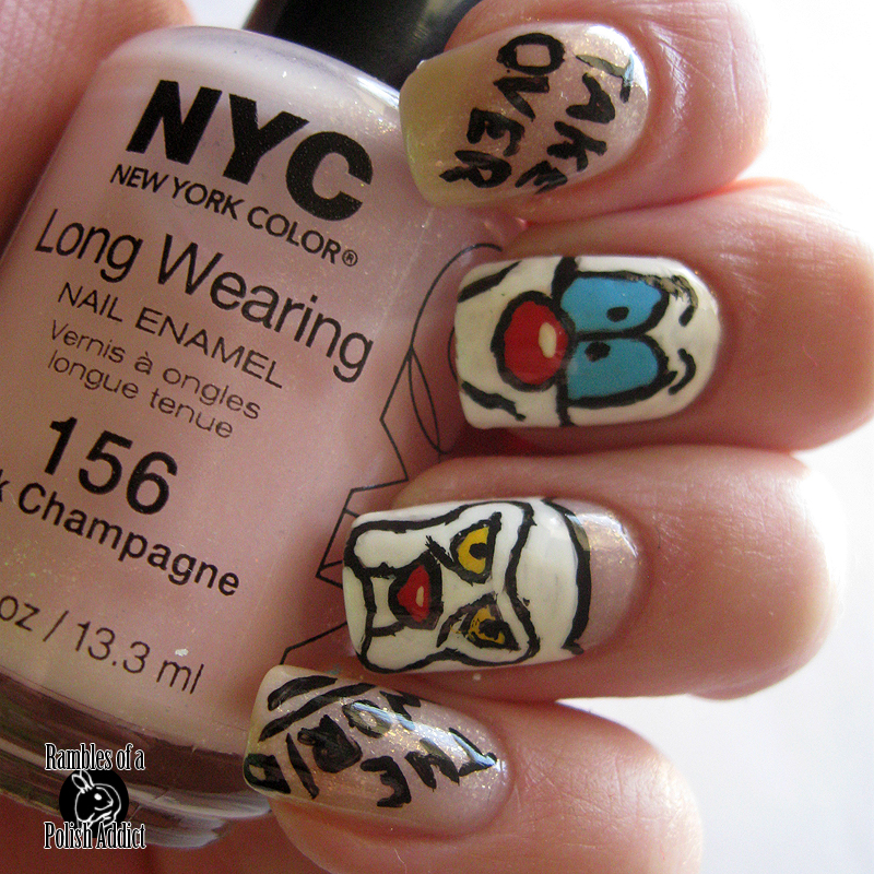 pinky and the brain nail art take over the world NYC New york color Pink Champagne