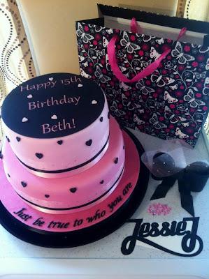 Pink black jessie j birthday cake