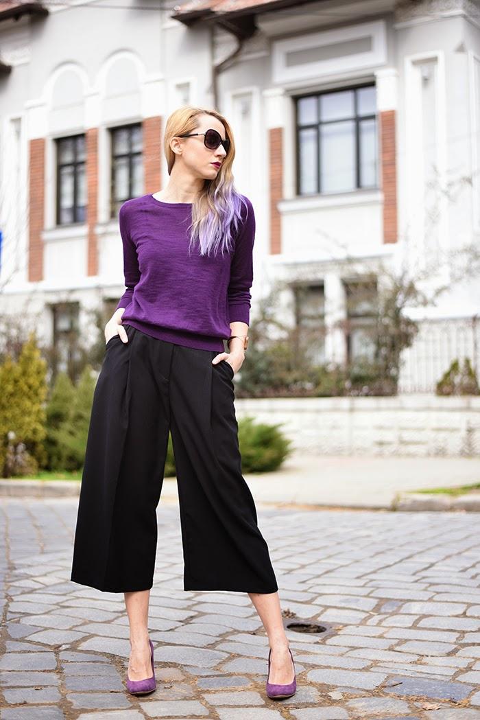 Skinny Buddha H&M black culottes purple cardigan