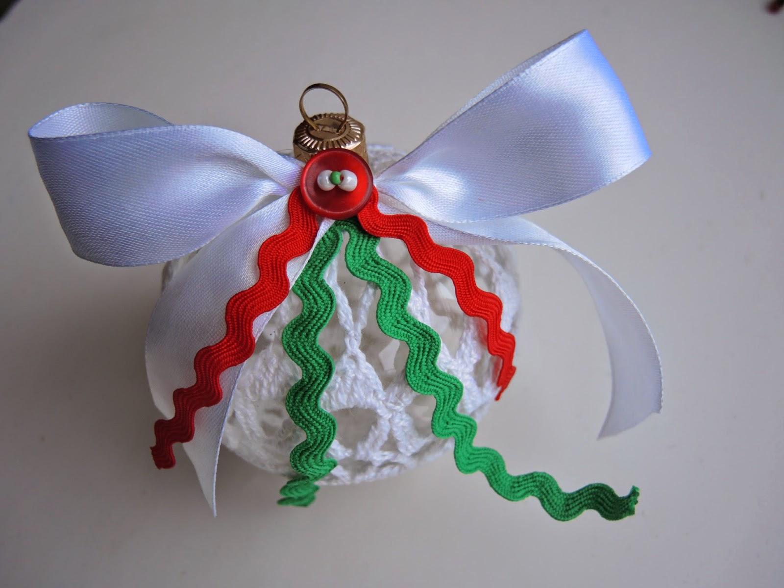 елочные игрушки, шарик, вязание, подарок