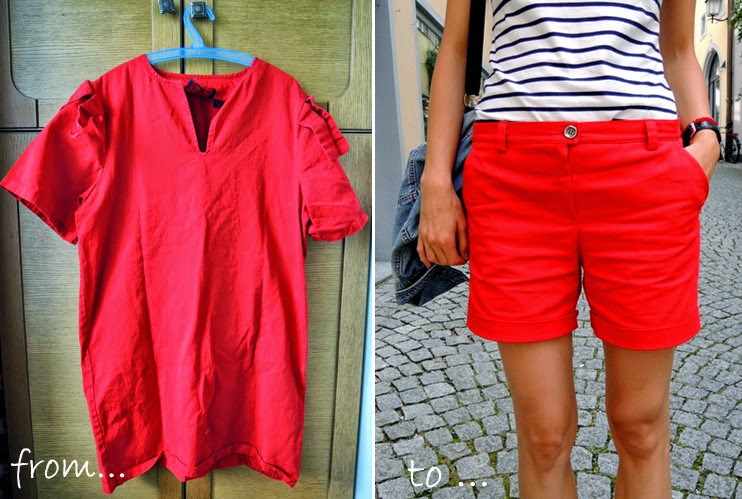 SIY: Big dress from secondhand? NO! fabric for my new red shorts!