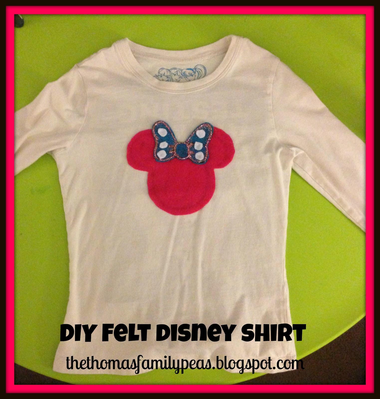 My three peas crazy easy diy felt disney shirt for Diy disney shirt template