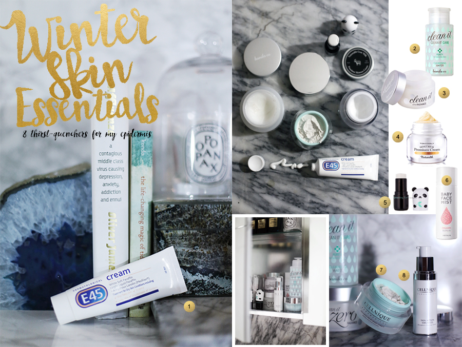 My 8 skincare and beauty essentials for Winter from E45, Banila Co. Tony Moly, Aritaum, and Cellnique.