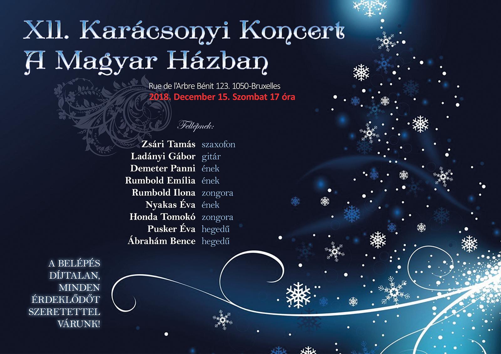 XII. Karácsonyi Koncert a Magyar Házban - 2018. december 15. (szo) 17 óra