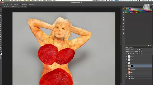 photoshop girl to pizza on Vimeo