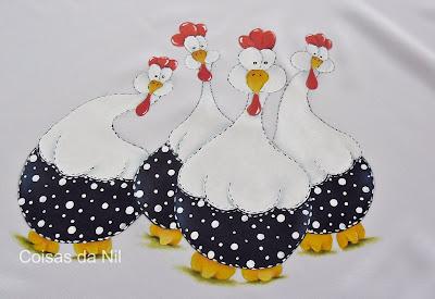 """""""galinhas dangola porongas pintadas em jogo de cozinha de oxford"""""""