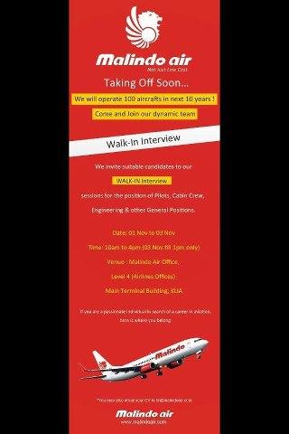Fly Gosh Malindo Airways Walk In Interview Pilot