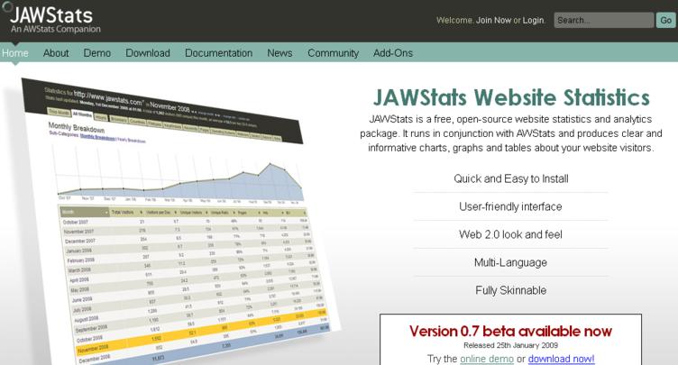 Jawstats Web Analytics tool