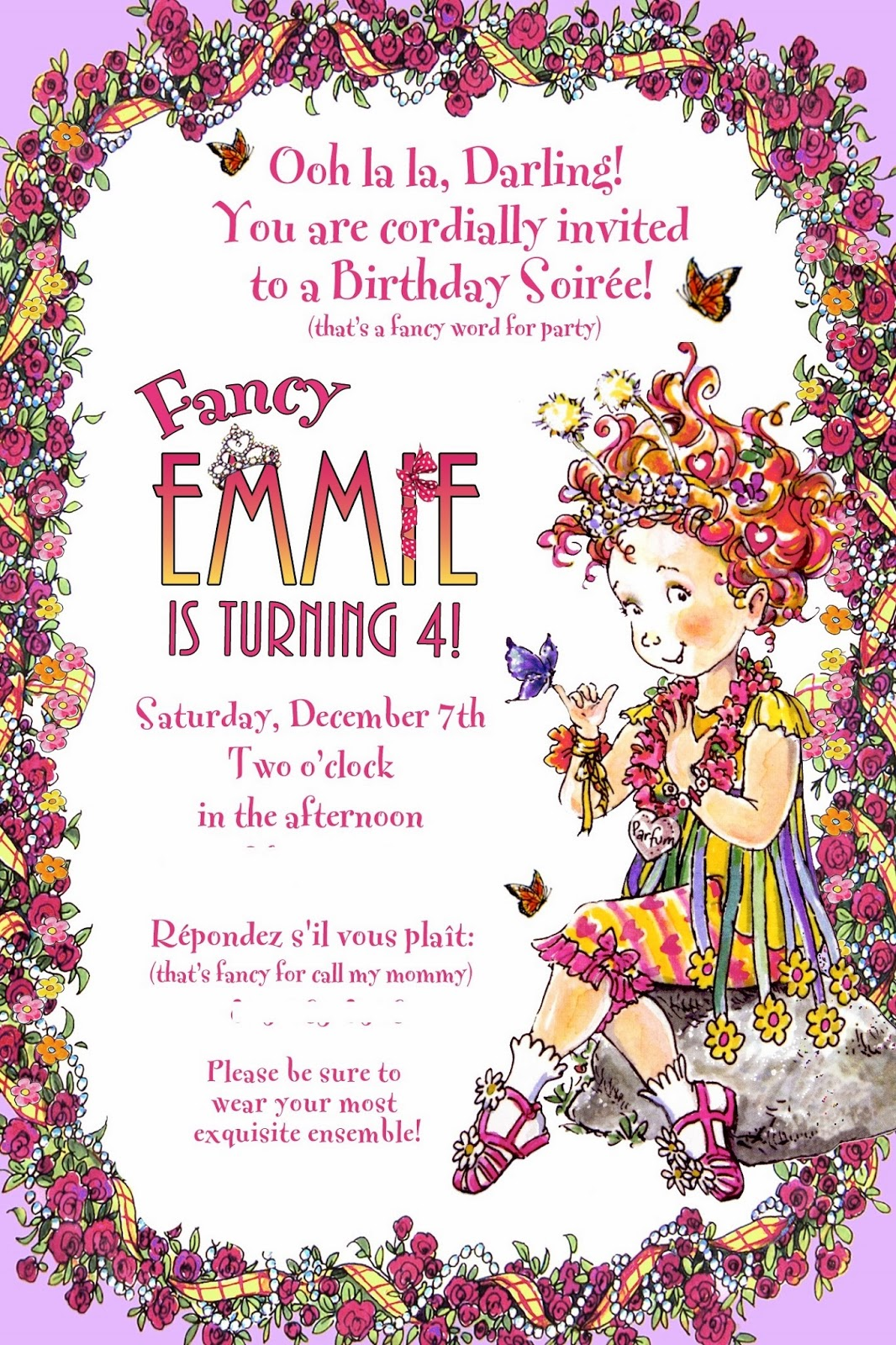 from the corner of my couch: Emmie\'s 4th Birthday Party - Fancy Nancy!
