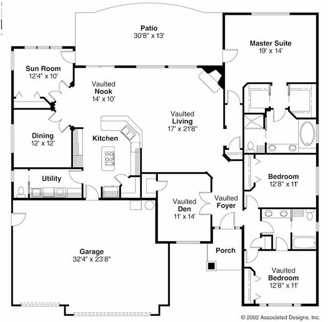 Characteristics of a ranch style house ayanahouse for Floor plans for 4 bedroom ranch house