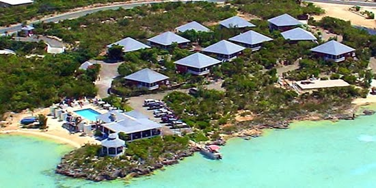 Aerial view of the villas at this boutique resort for sale