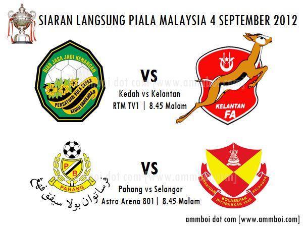 Keputusan Perlawanan Piala Malaysia 4 September 2012