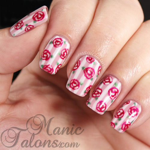 Romantic Stripes and Roses Nails