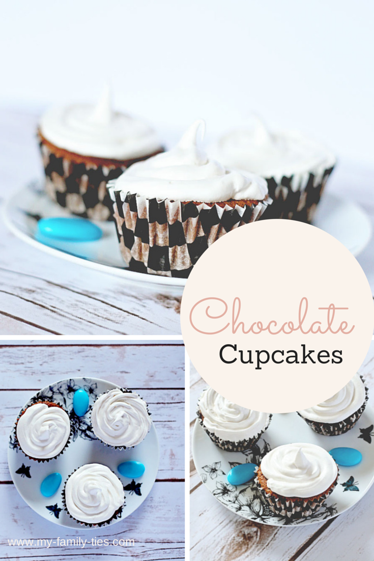 a photo montage of chocolate cupcakes on a pretty plate with meringue icing toppings