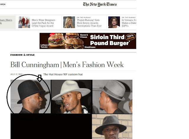 The Hat House NYhandmade custom hats appearing in NY Times Men's Fashion Week article