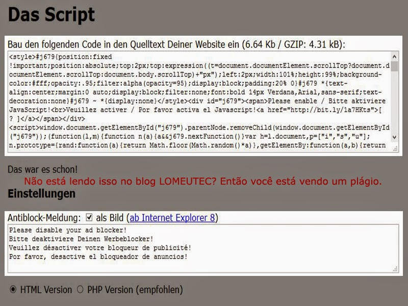 Desabilitando bloqueio de anúncios no blogger