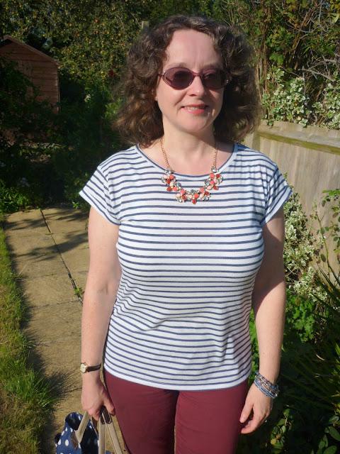Statement Necklace, Striped T-shirt | Petite Silver Vixen
