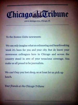 Actos amables - Las pizzas del Chicago Tribune al Boston Globe