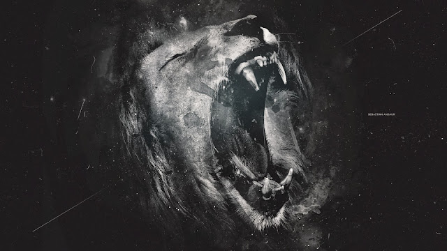 Lion grayscale art HD Wallpaper