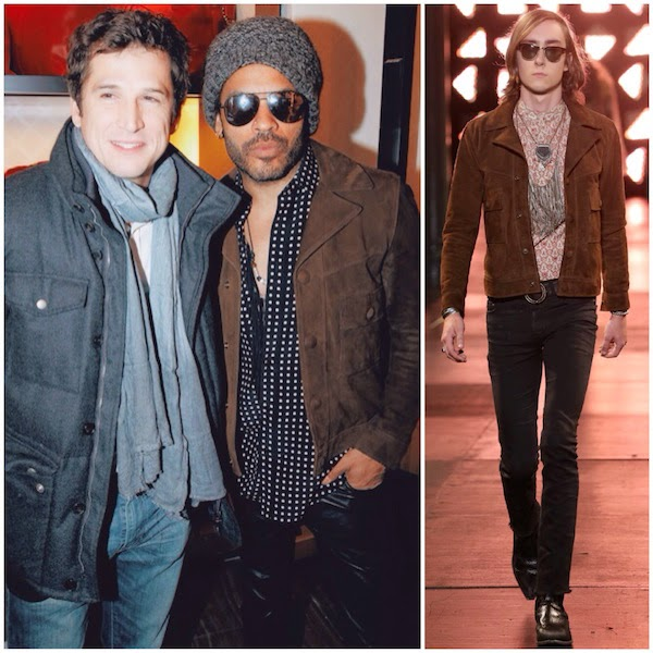 Guillaume Canet with Lenny Kravitz wearing Saint Laurent Spring Summer 2015 brown suede jacket at Longchamp Elysees Lights On Party Boutique Launch 4th December 2014 Paris France