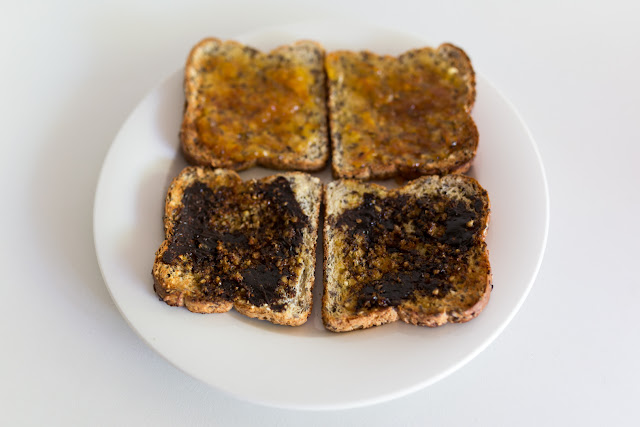 vegemite and marmalade toast