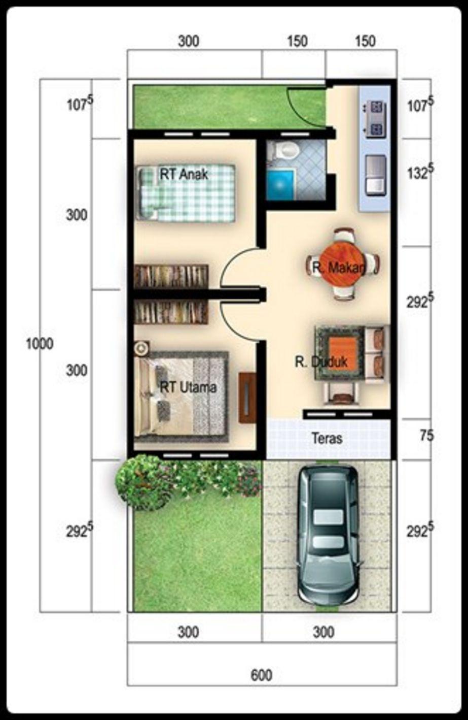 rancangan denah luas tanah 6x10 m2 unik