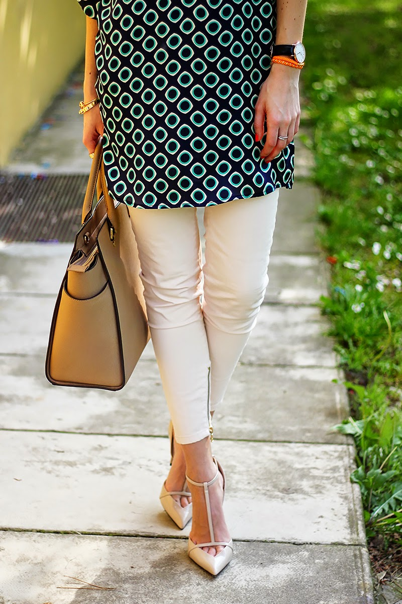 printed tunic, pastel jeans, nude heels, Michael Kors bag, spring outfit