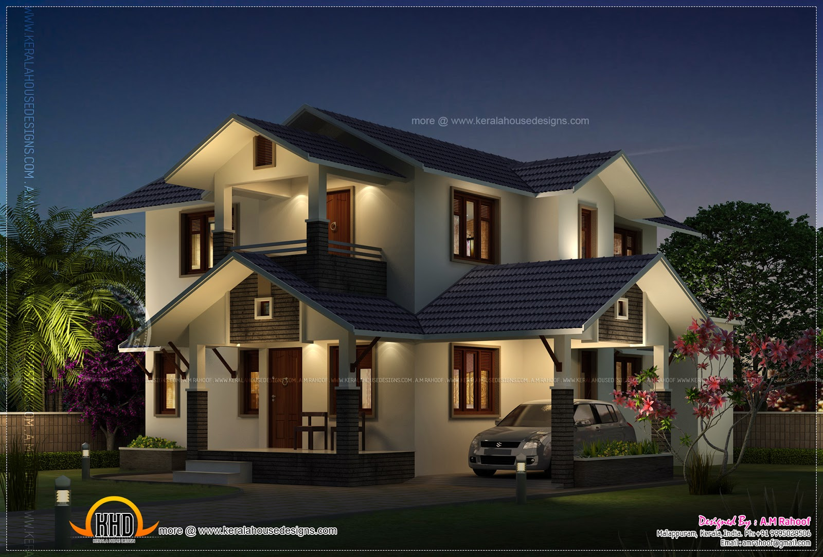 Night view of double storied house kerala home design for Modern house at night