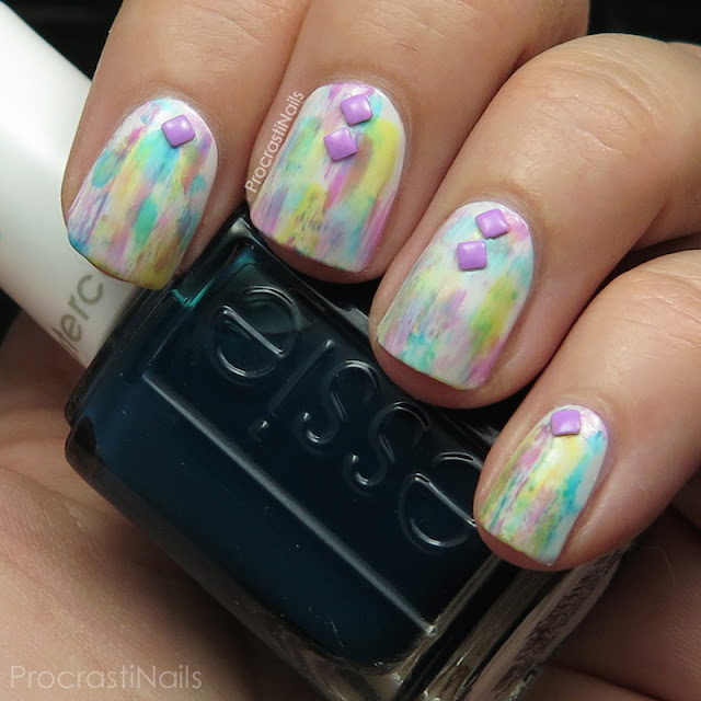 Dry brush nails with Born Pretty Store studs and the Essie Silk Watercolor Collection