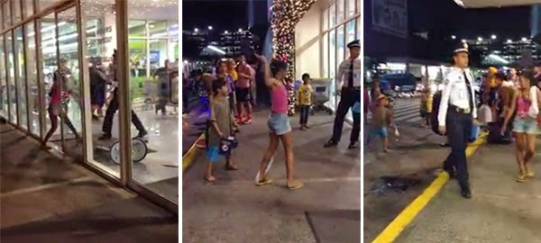 Street Kid vs Mall Security Guard Altercation