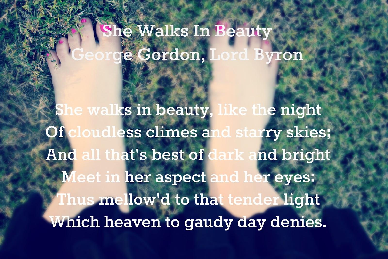 essays about she walks in beauty