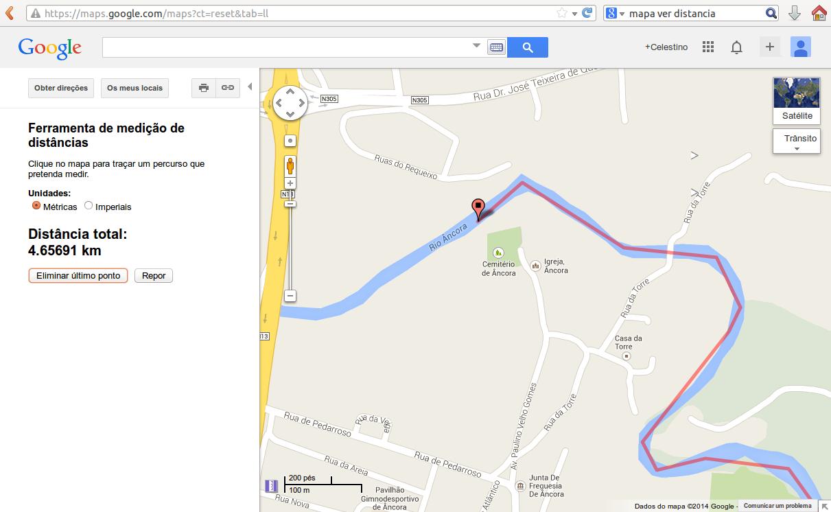 Imagem da distancia entre o local do desapareciemnto e o local onde foi encontrado o jovem desaparecido no rio Âncora
