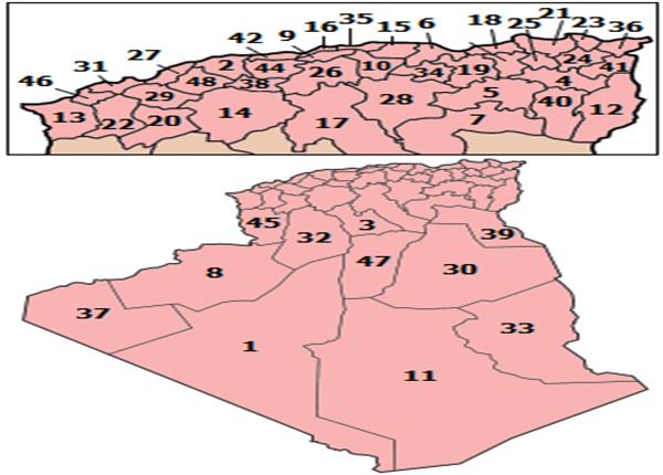 خريطة الجزائر المفصلة